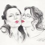 Bleistiftzeichnung 05, Lippen coloriert