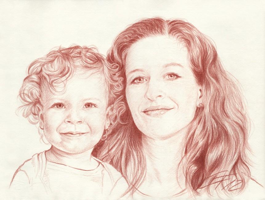 Portraitzeichnung Rötel 01