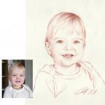 Kleiner Junge Roetelzeichnung Rötelzeichnung Portraitzeichnung