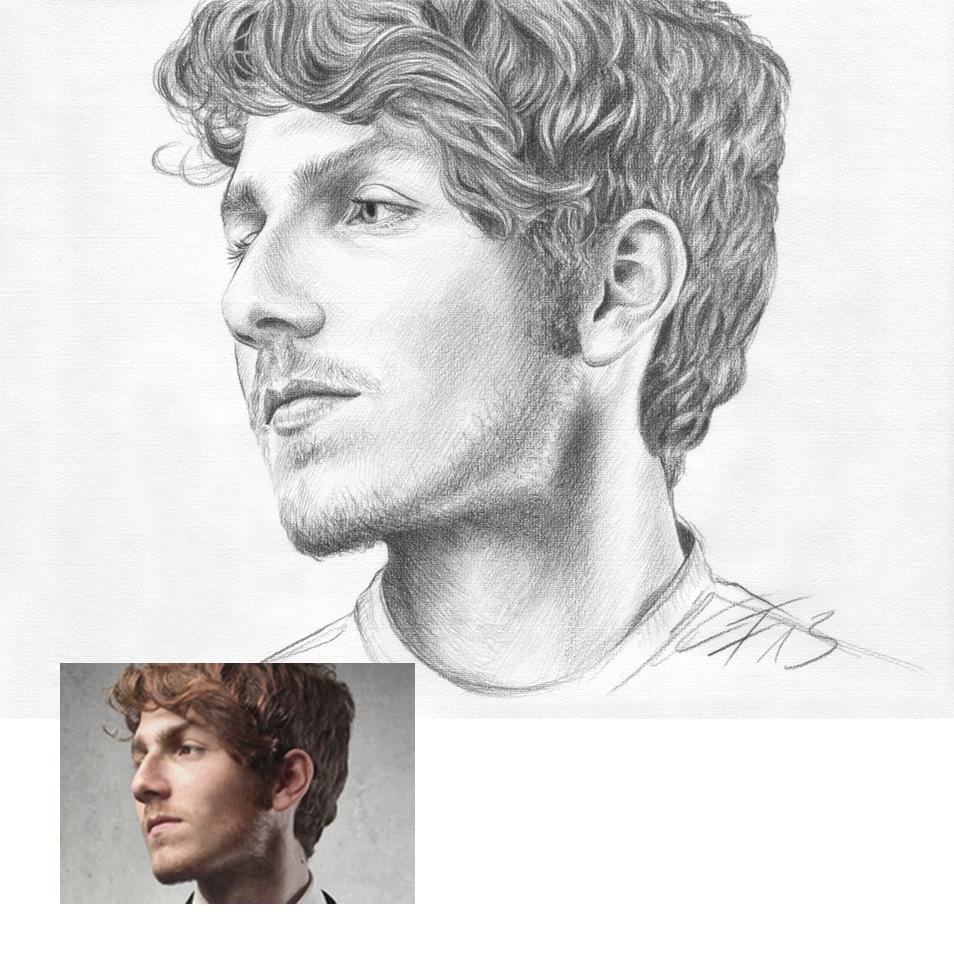 Junger Mann Bleistiftzeichnung Portraitzeichnung