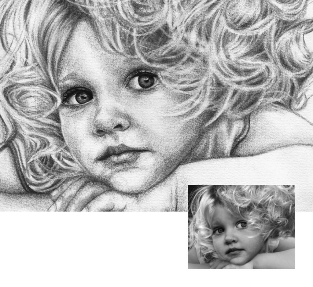 Maedchen mit Locken Kohlezeichnung Portraitzeichnung