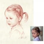 Kleines Maedchen Roetelkreide Portraitzeichnung